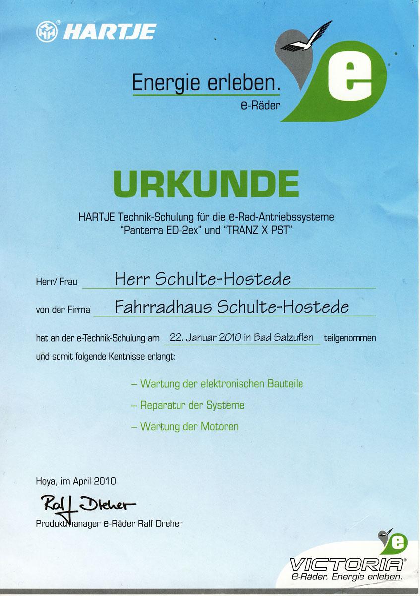 Urkunde E-Bike Technik-Schulung von Jörg Schulte-Hostede Fahrrradhaus Schulte-Hostede
