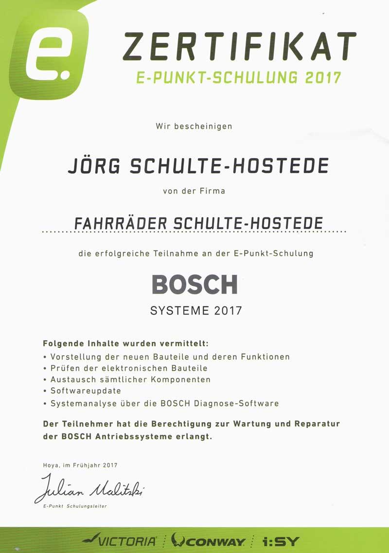 Bosch E-Bike Zertifikat 1