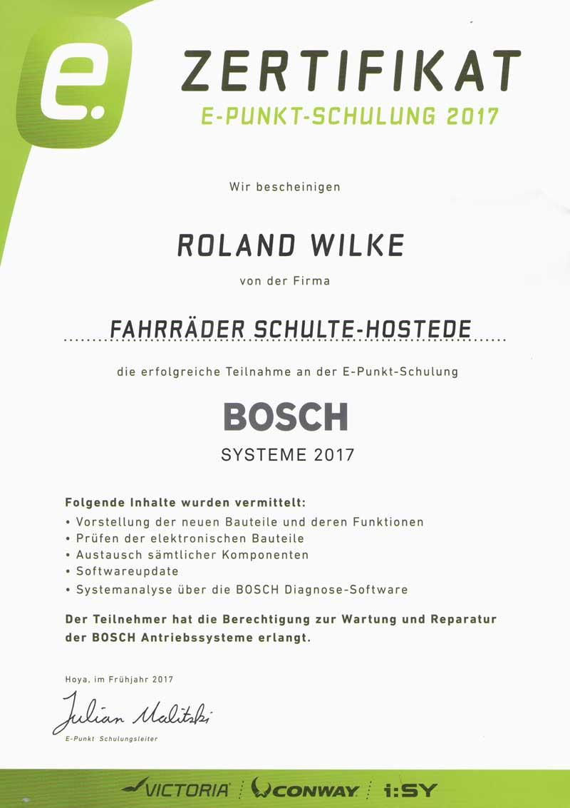 Bosch E-Bike Zertifikat 2